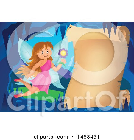 Clipart of a Parchment Scroll in a Cave with a Fairy - Royalty Free Vector Illustration by visekart