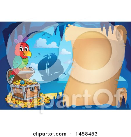 Clipart of a Parrot on a Treasure Chest by a Parchment Scroll in a Cave - Royalty Free Vector Illustration by visekart
