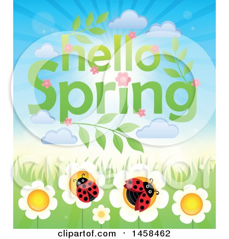 Clipart of a Hellow Spring Sky over Ladybugs on Flowers - Royalty Free Vector Illustration by visekart