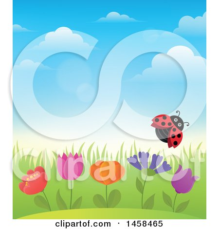 Clipart of a Ladybug Flying over Flowers Against a Blue Spring Sky - Royalty Free Vector Illustration by visekart