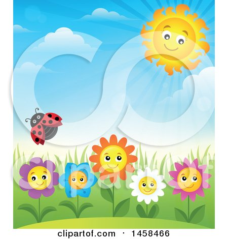 Clipart of a Ladybug Flying over Happy Flowers Against a Blue Spring Sky and Sun - Royalty Free Vector Illustration by visekart