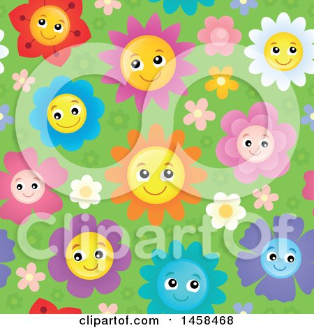 Clipart of a Seamless Background of Happy Smiling Flowers on Green - Royalty Free Vector Illustration by visekart