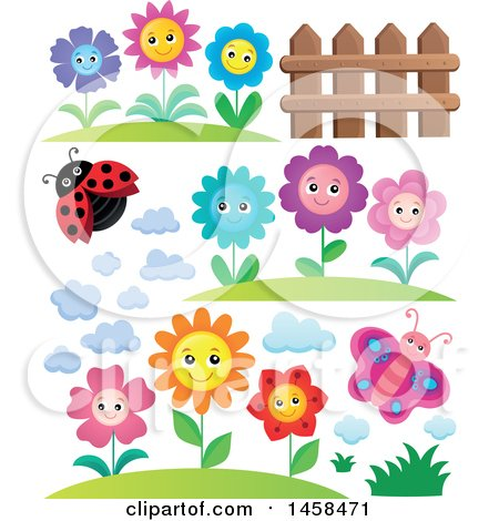 Clipart of a Ladybug with Cloud, Fence, Butterfly and Flower Designs - Royalty Free Vector Illustration by visekart