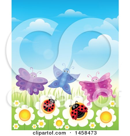 Clipart of a Row of White Daisies with Butterflies and Ladybugs - Royalty Free Vector Illustration by visekart