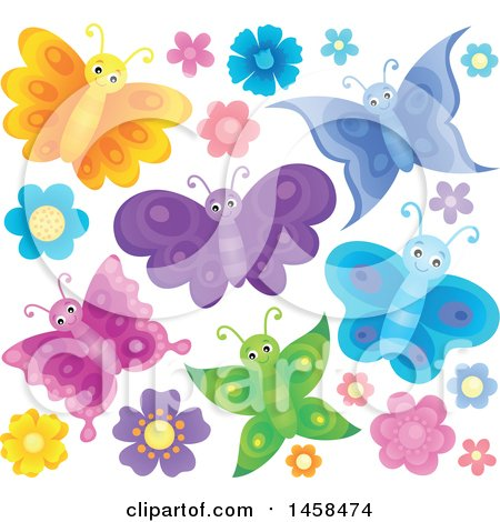 Clipart of Colorful Butterflies and Flowers - Royalty Free Vector Illustration by visekart