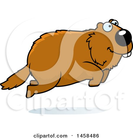 clipart of a happy woodchuck groundhog whistlepig jumping royalty rh clipartof com Groundhog Graphics Wood Chuck Cartoon