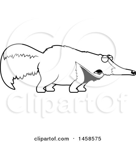 Clipart of a Black and White Howling Anteater - Royalty Free Vector Illustration by Cory Thoman