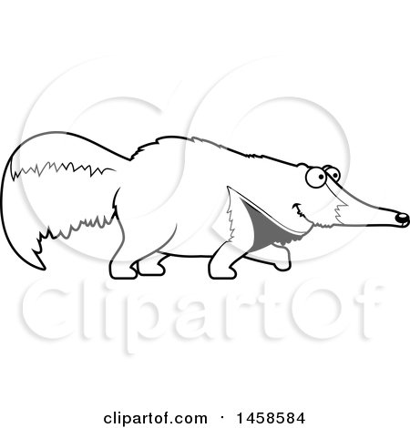 Clipart of a Black and White Happy Anteater Walking - Royalty Free Vector Illustration by Cory Thoman