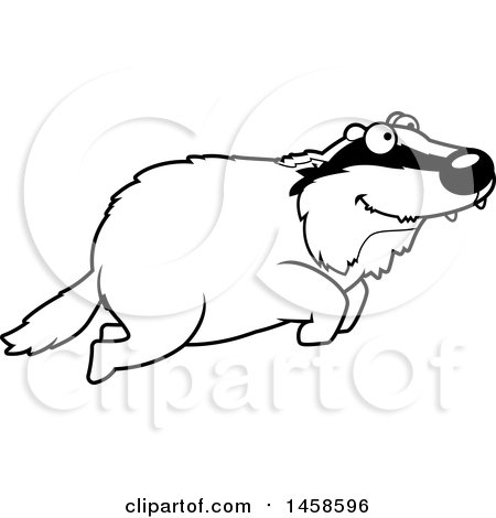 Clipart of a Black and White Happy Badger Jumping - Royalty Free Vector Illustration by Cory Thoman