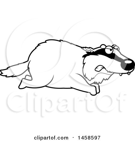 Clipart of a Black and White Mad Badger Running - Royalty Free Vector Illustration by Cory Thoman