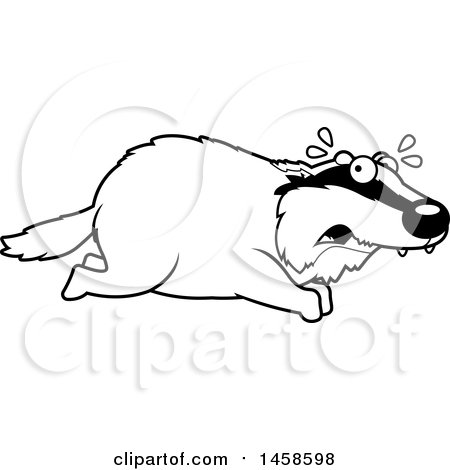Clipart of a Black and White Scared Badger Running - Royalty Free Vector Illustration by Cory Thoman