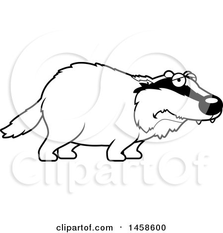 Clipart of a Black and White Sad or Depressed Badger - Royalty Free Vector Illustration by Cory Thoman