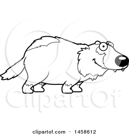 Clipart of a Black and White Happy Wolverine - Royalty Free Vector Illustration by Cory Thoman