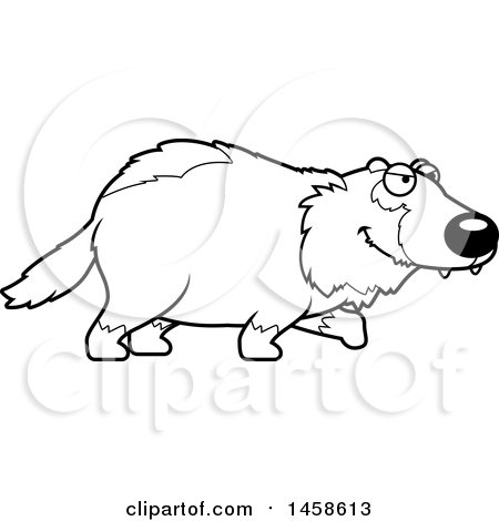 Clipart of a Black and White Stalking Wolverine - Royalty Free Vector Illustration by Cory Thoman
