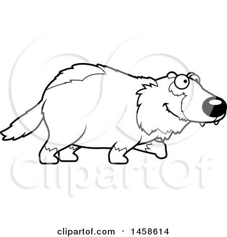 Clipart of a Black and White Happy Wolverine Walking - Royalty Free Vector Illustration by Cory Thoman