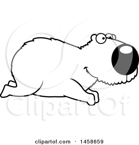 Clipart of a Lineart Happy Capybara Running - Royalty Free Vector Illustration by Cory Thoman