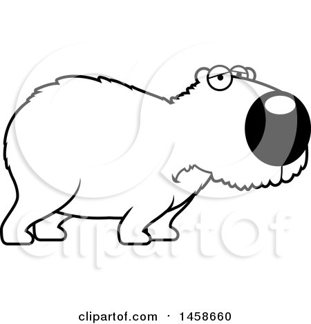 Clipart of a Lineart Sad or Depressed Capybara - Royalty Free Vector Illustration by Cory Thoman