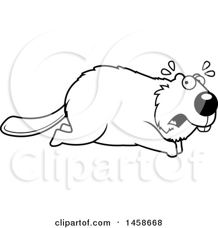 Clipart of a Lineart Scared Beaver Running - Royalty Free Vector Illustration by Cory Thoman