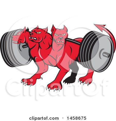 Clipart of a Cartoon Red Three Headed Cerberus Devil Dog Hellhound Monster with a Heavy Barbell - Royalty Free Vector Illustration by patrimonio