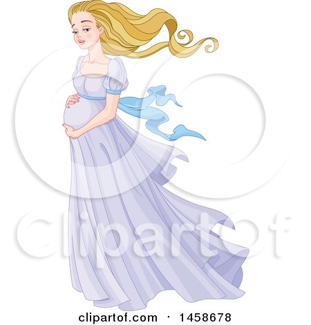 Clipart of a Beautiful Pregnant Woman Holding Her Belly - Royalty Free Vector Illustration by Pushkin