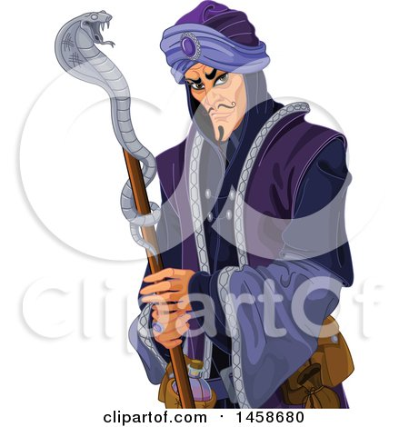 Clipart of a Cruel Villian Arabian Man with a Snake Staff - Royalty Free Vector Illustration by Pushkin