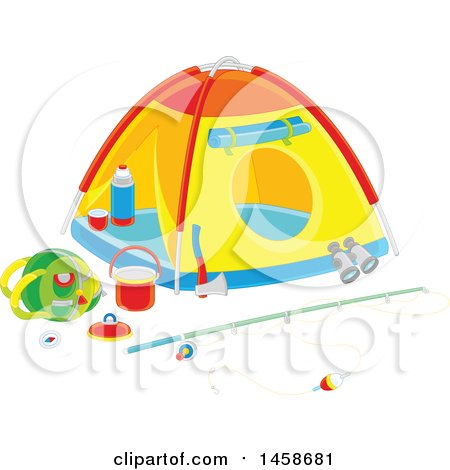 Clipart of a Tent with Fishing and Camping Gear - Royalty Free Vector Illustration by Alex Bannykh