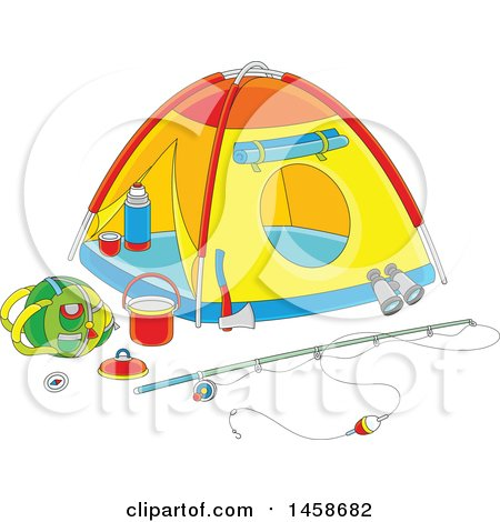 Clipart of a Cartoon Tent with Camp and Fishing Gear - Royalty Free Vector Illustration by Alex Bannykh