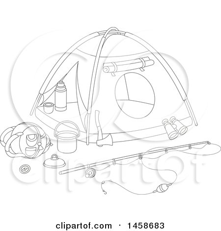 Black And White Tent With Camp Fishing Gear Preview Clipart