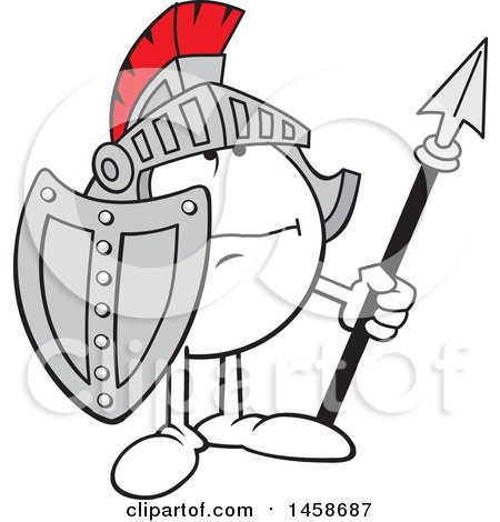 Clipart of a Moodie Character Knight Wearing a Helmet, Holding a Shield and Spear - Royalty Free Vector Illustration by Johnny Sajem