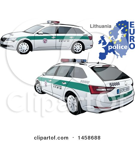 Clipart of a Lithuanian Police Car with a Map and Euro Police Text - Royalty Free Vector Illustration by dero