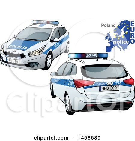 Clipart Of A Polish Police Car With A Map And Euro Police Text