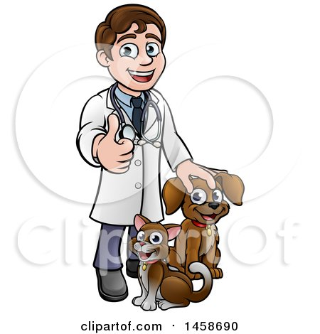 Clipart of a Cartoon Happy May Veterinarian Giving a Thumb up and Standing with a Dog and Cat - Royalty Free Vector Illustration by AtStockIllustration