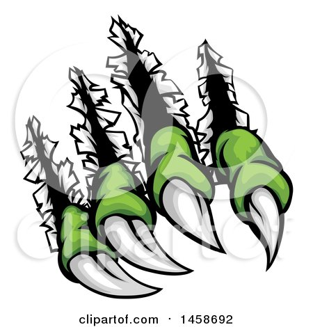 Clipart of Sharp Green Monster Claws Shredding Through Metal - Royalty Free Vector Illustration by AtStockIllustration