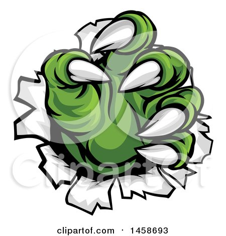 Clipart of Green Monster Claws Ripping Through Metal with Sharp Talons - Royalty Free Vector Illustration by AtStockIllustration