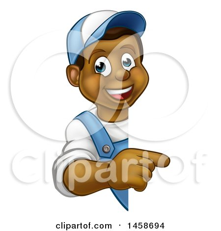 Clipart of a Cartoon Happy Black Male Worker Pointing Around a Sign - Royalty Free Vector Illustration by AtStockIllustration