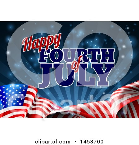Clipart of a 3d American Flag and Fourth of July Text over Blue - Royalty Free Vector Illustration by AtStockIllustration