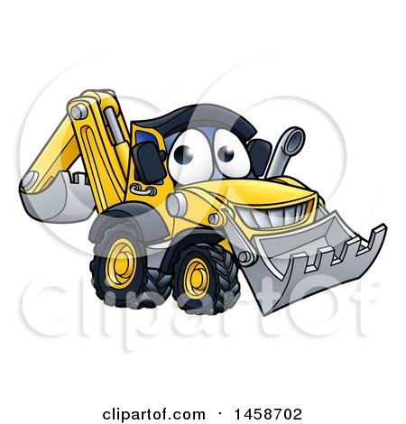 Clipart of a Cartoon Digger Bulldozer Mascot - Royalty Free Vector Illustration by AtStockIllustration