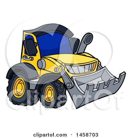 Clipart of a Cartoon Yellow Bulldozer - Royalty Free Vector Illustration by AtStockIllustration