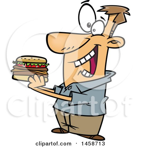 Clipart of a Cartoon Caucasian Man Eating a Hamburger - Royalty Free Vector Illustration by toonaday