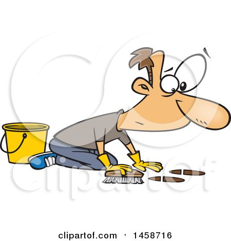 Clipart of a Cartoon Caucasian Man Scrubbing a Floor - Royalty Free Vector Illustration by toonaday