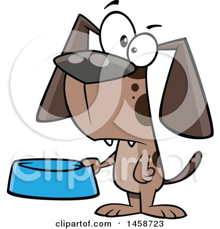 Clipart of a Cartoon Dog Holding a Food Bowl - Royalty Free Vector Illustration by toonaday