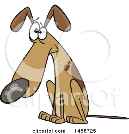 Clipart of a Cartoon Guilty Dog Sitting - Royalty Free Vector Illustration by toonaday