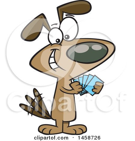 Clipart of a Cartoon Dog with a Poker Face, Playing Cards - Royalty Free Vector Illustration by toonaday