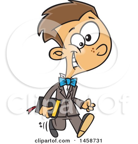 Clipart of a Cartoon Happy Caucasian Boy Going to Church - Royalty Free Vector Illustration by toonaday
