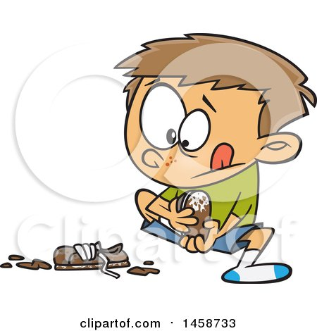 Clipart of a Cartoon Caucasian Boy Pulling off His Muddy Shoes - Royalty Free Vector Illustration by toonaday