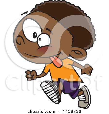 Clipart of a Cartoon Energetic Black Boy Running - Royalty Free Vector Illustration by toonaday