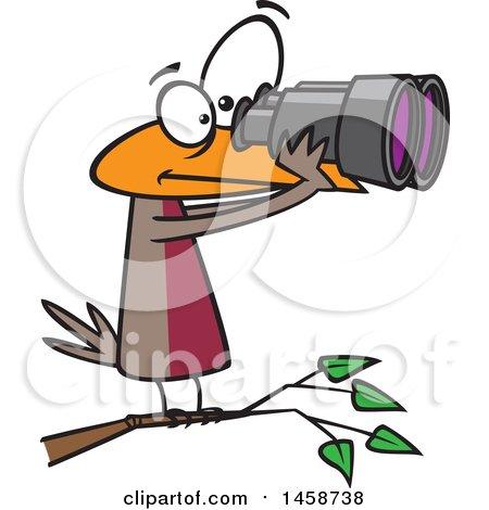 Clipart of a Cartoon Bird Looking Through Binoculars, Birdwatching - Royalty Free Vector Illustration by toonaday