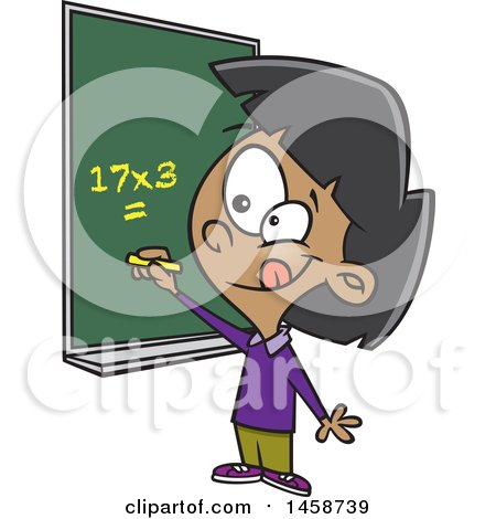 Clipart of a Cartoon School Girl Solving a Multiplication Math Problem - Royalty Free Vector Illustration by toonaday