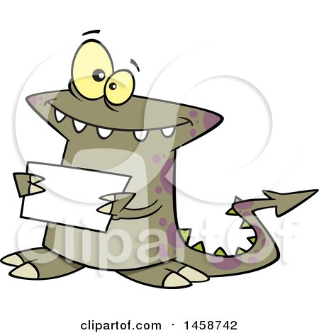 Clipart of a Cartoon Welcoming Monster Holding a Sign - Royalty Free Vector Illustration by toonaday