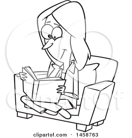 Clipart of a Cartoon Outline Woman Reading a Book - Royalty Free Vector Illustration by toonaday